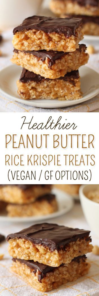 These healthier chocolate peanut butter Rice Krispies treats are nice and chewy, naturally sweetened and incredibly quick and simple to put together! {vegan, gluten-free, 100% whole grain, and dairy-free options}