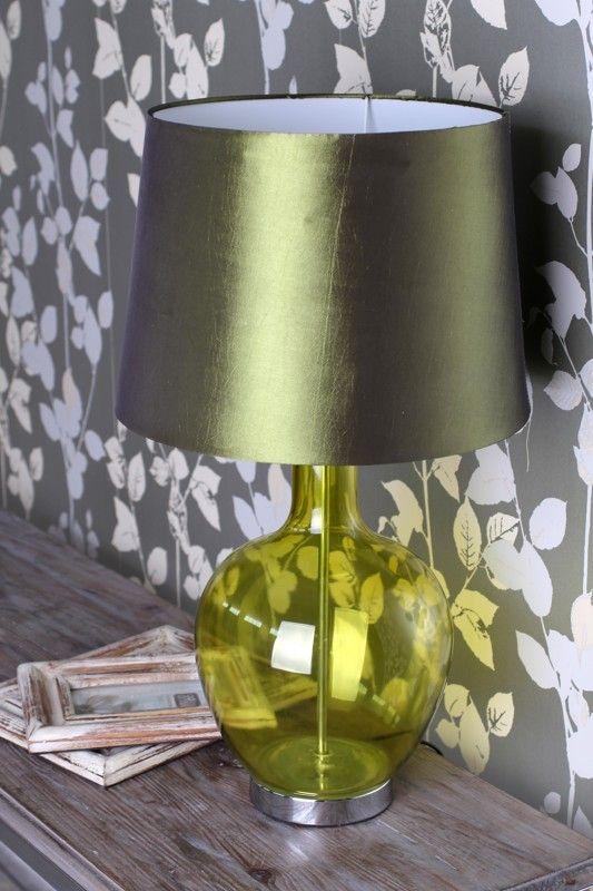 Lampara de mesa moderna cristal verde