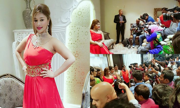 Payal ghosh looks stunning in bold red gown designed by richa ranawat at a jewellery store launch