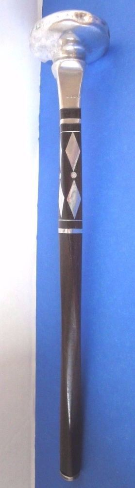"Walking Stick/Parasol/Umbrella Handle c/w Sterling Silver Knob 2-1/4"" dia."