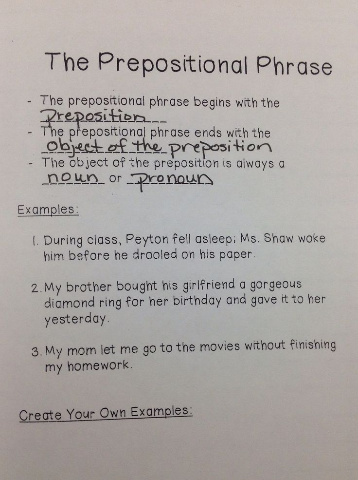 preposition grammar and english prepositional phrases A preposition always has an object, which is usually a noun or a pronoun the  preposition with its object (and any modifiers) is called a prepositional phrase.