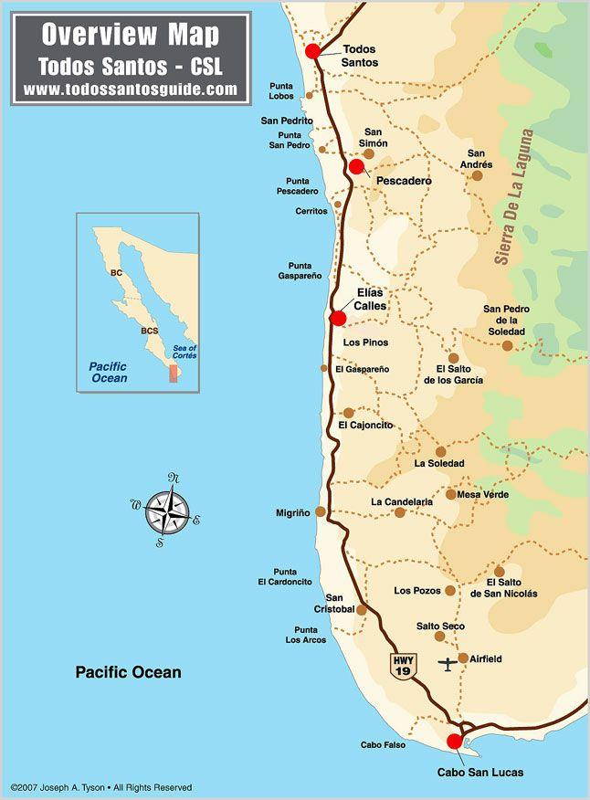 todos santos map - overview from la poza to los cerritos