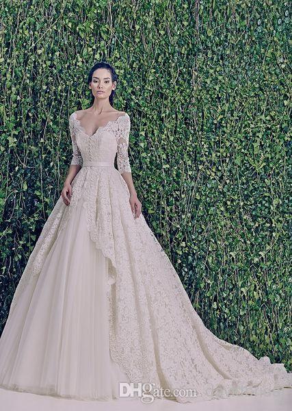 Custom Made Gorgeous Lace Zuhair Murad Vintage Wedding Dresses Deep V Neck 3 4 Long Sleeve A Line Bridal Gowns With Silk Sash