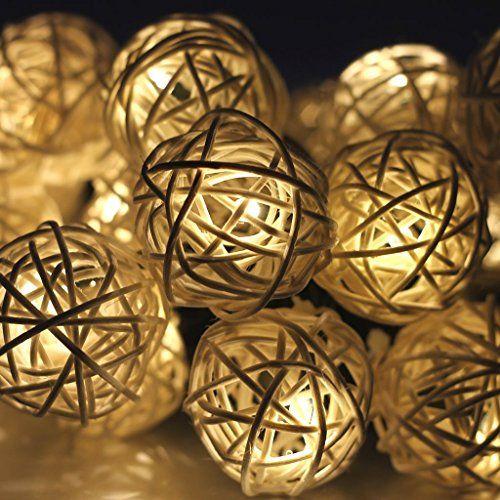 Stunning OFKP LED Solar Rattan Decoration Rattan Ball Light Storm Cream Lamp Garlands Ideal for Christmas