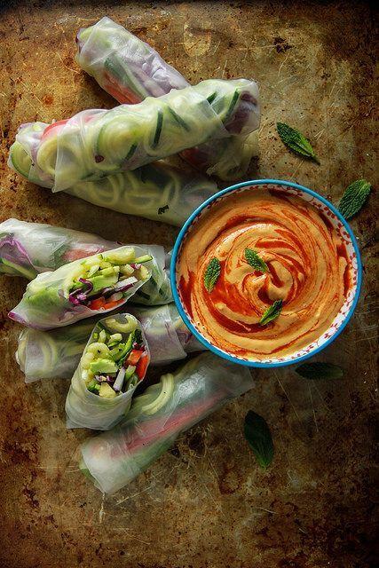 Vegan Zoodle Fresh Rolls With Mango Tahini Sauce