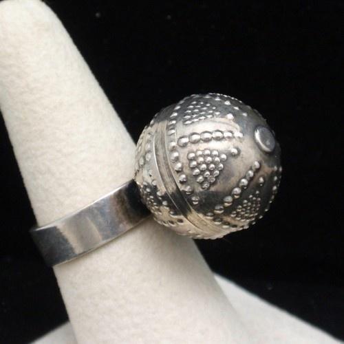 Kalevala Koru Finland Ring Modernist Sterling Silver Textured Ball   eBay