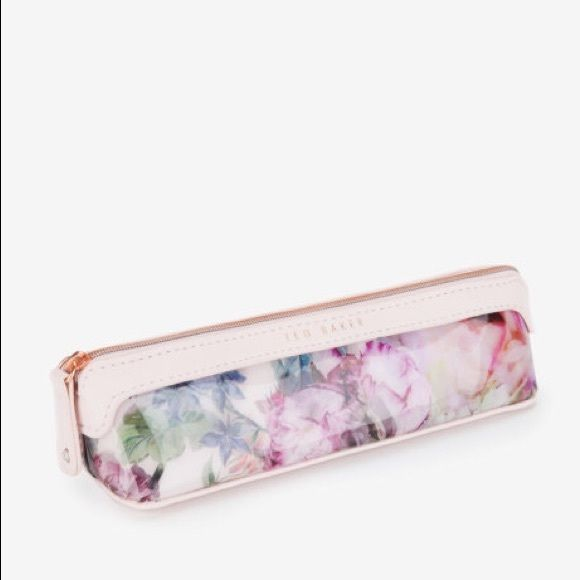 Ted Baker Pure Peonies pencil case New without tags and never used. Great size for cosmetics and brushes! Beautiful floral print and pink trim. Ted Baker Bags Cosmetic Bags & Cases