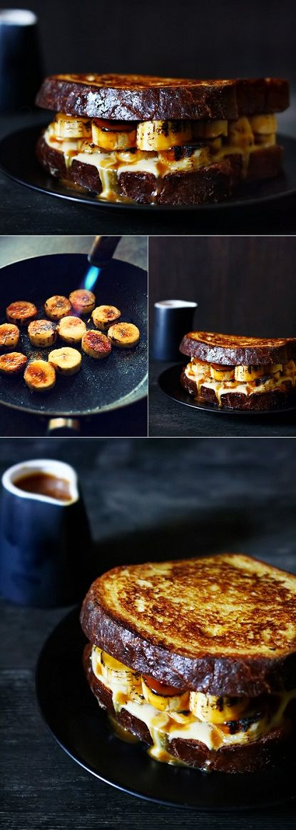 How to turn those grumpy Mondays into fun-days: French toast with vanilla crème patissiere + bruléed bananas + salted caramel sauce.