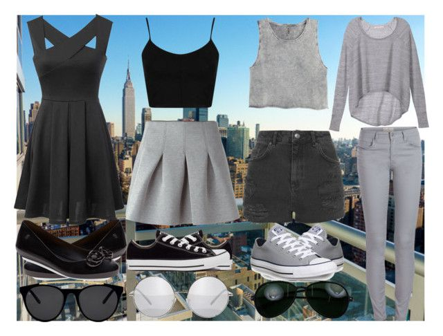 summer in city with Best friend by slytheriner on Polyvore featuring Victoria's Secret, H&M, Topshop, T By Alexander Wang, Pieces, Melissa, Converse, Smoke & Mirrors and Tom Ford