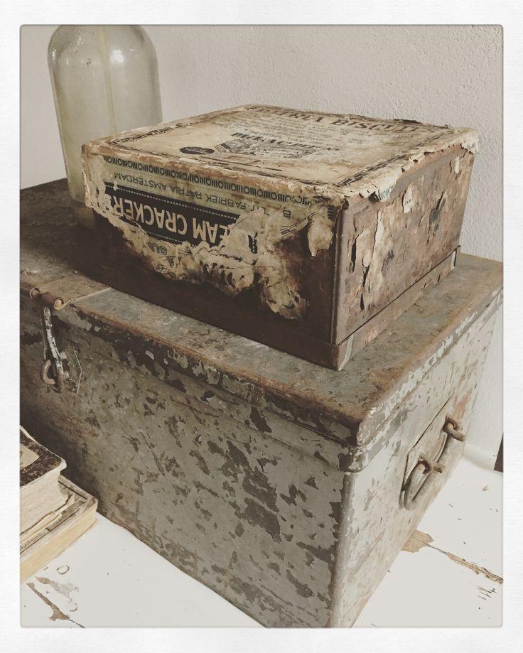 Old zinc boxes