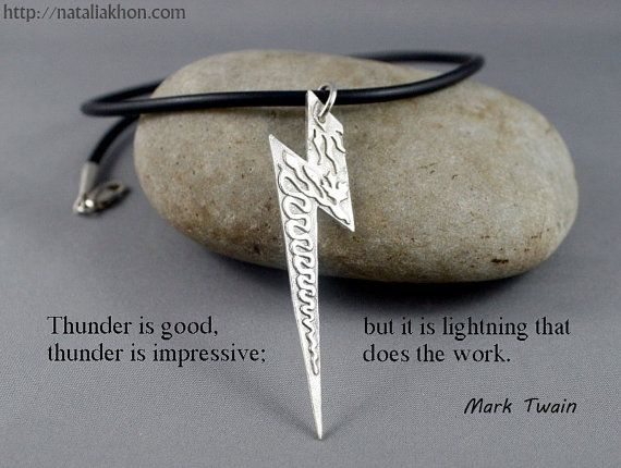 Large lightning bolt necklace.  Silver necklace for him. Jewelry for men.