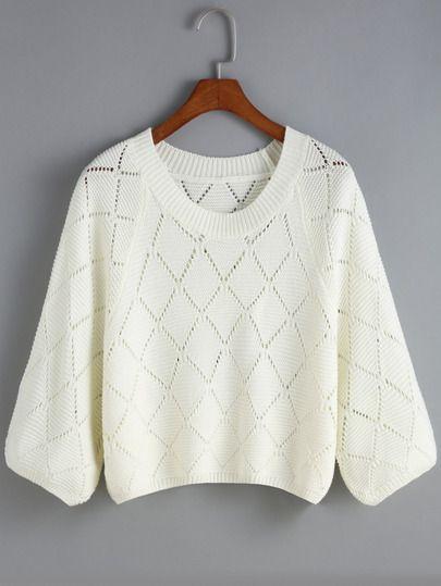 White Hollow Diamond Pattern Crop Knit Sweater