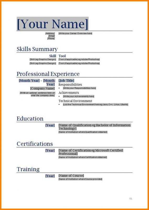 Free Blank Resume Templates Proposal Surat Wawancara