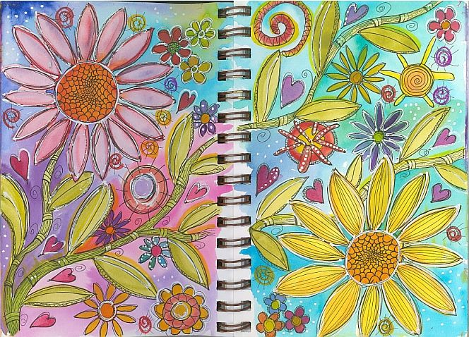Paint a Doodle, Do! Step-by-step turtorial. Doodle painting in watercolor and pen.