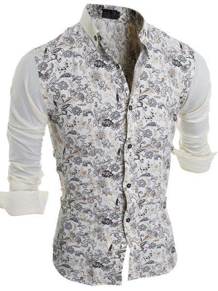Men 's Floral Printed Printed Small Lapel Shirt #ClothingOnline #PlusSizeWomensClothing #CheapClothing #FashionClothing #womenswear #sexydress #womensdress #womenfashioncasual #womensfashionforwork  #fashion #womensfashionwinter