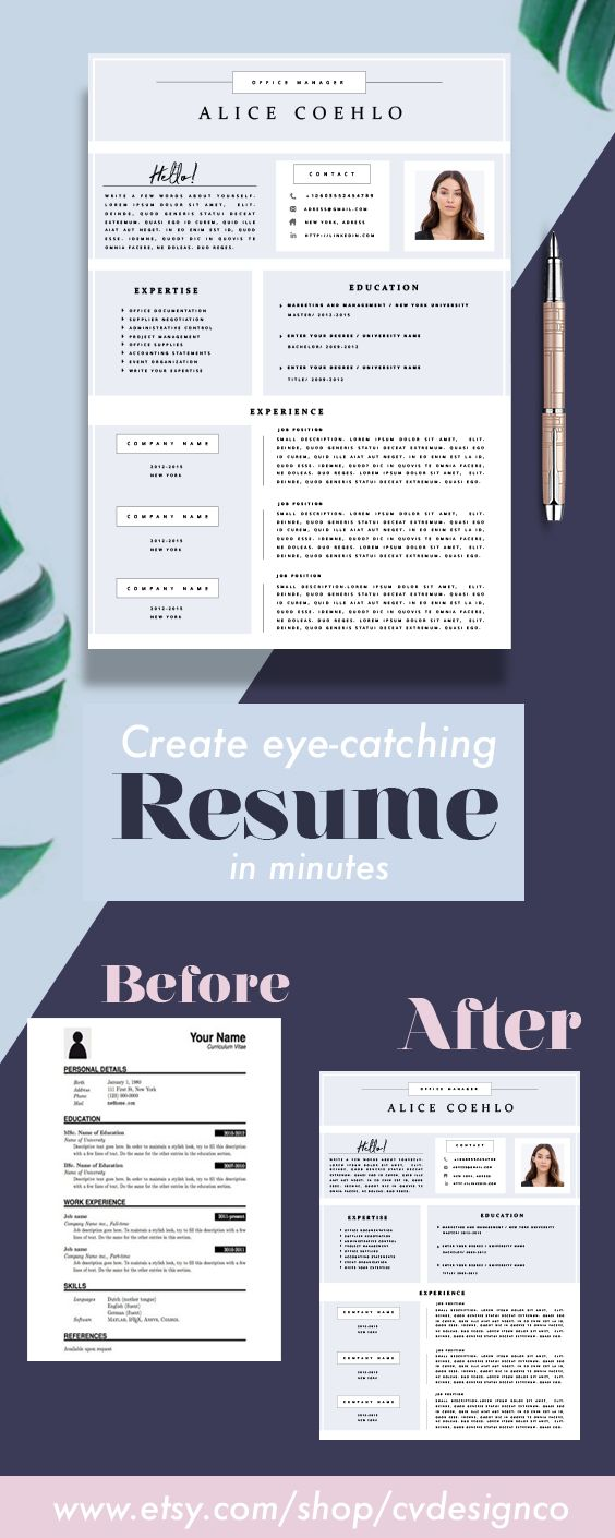 Professional Resume Template CV Template Editable in