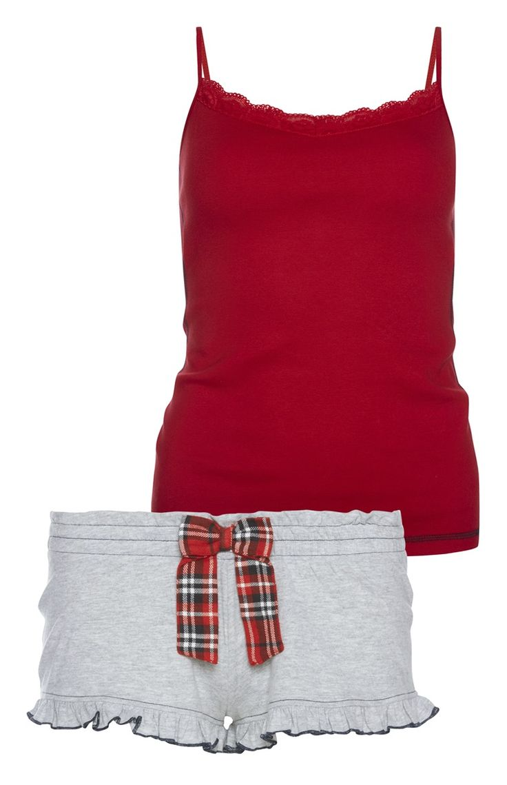 Primark - Red Cami And Grey Short PJ Set