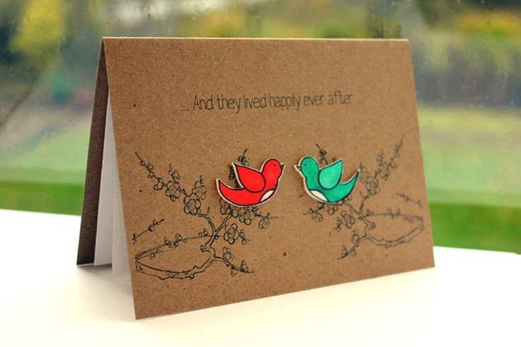 Handmade Engagement Card  //  Wedding Card  //  Anniversary Card  //  Love Card  //  Happily Ever After Love Birds. £3.00, via Etsy.
