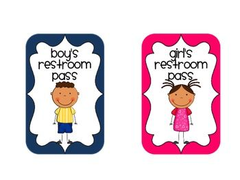 Restroom Pass FREEBIE!!                                                                                                                                                     More