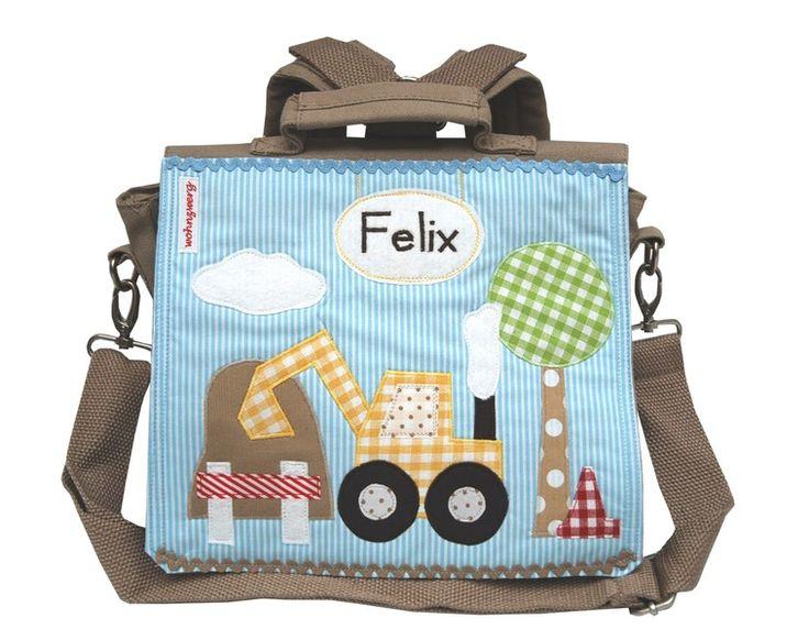Kindergartenrucksack  - Mein kleiner Bagger - von wohnzwerg  http://de.dawanda.com/product/40745218-Kindergartenrucksack---Mein-kleiner-Bagger--