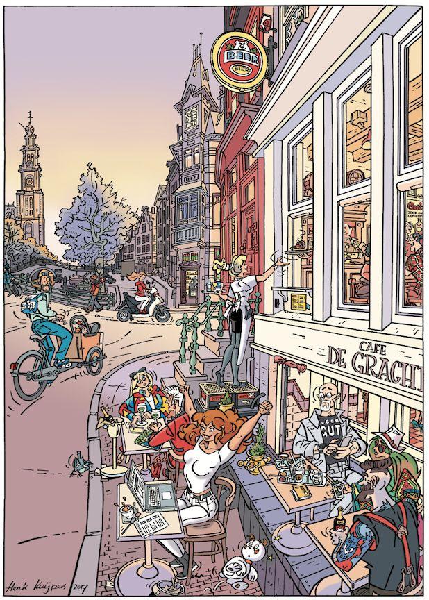 HEBBES special! Bij Catawiki-veiling mei 2017. Eerdere prenten in deze serie: klassieke veilingzaal, rommelige rommelmarkt en Amerikaanse yardsale. Nu scoren op de gracht, op het terras van Café De Gracht!... maar je volgt het niet zo... je volgt even de veiling... van dat ene item! En dan de ontlading! HEBBES! Elke verzamelaar kent dat gevoel… je hebt het... die half ongelovige verassing als je plotseling iets onbereikbaars toch in handen hebt!