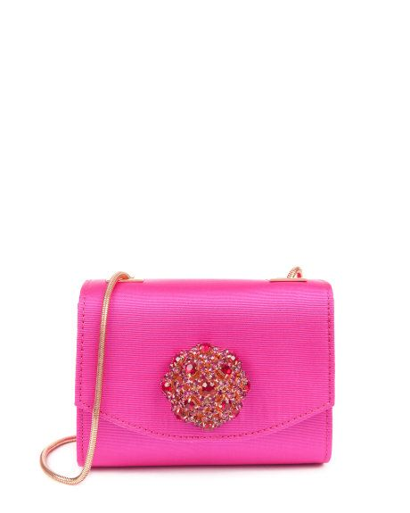 Crystal brooch clutch - Mid Pink | Bags | Ted Baker UK