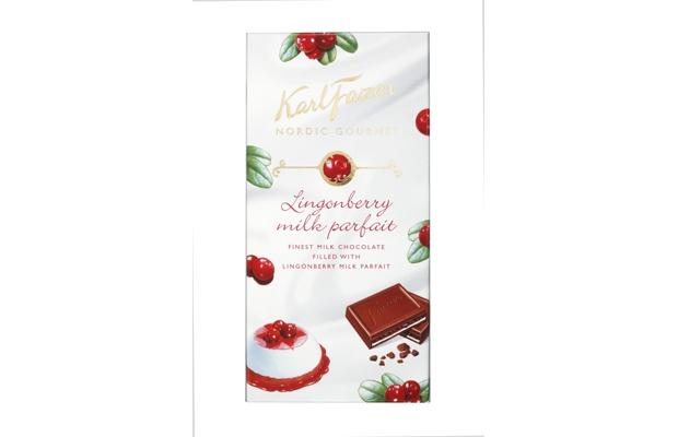 Karl Fazer Nordic Gourmet Lingonberry Milk Parfait 125g suklaalevy Maitosuklaata, puolukka-maitotäytettä ja kinuskirouhetta.