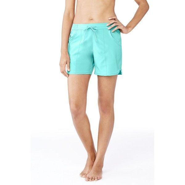 Lands' End Women's Petite AquaSport 5 Swim Shorts ($39) ❤ liked on Polyvore featuring swimwear, bikinis, bikini bottoms, blue, blue swim wear, swim wear, lands' end two piece, petite bikini and swim trunks