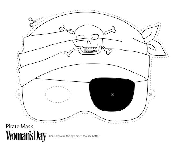 Free printable halloween masks print and color pirate for Make your own halloween mask online