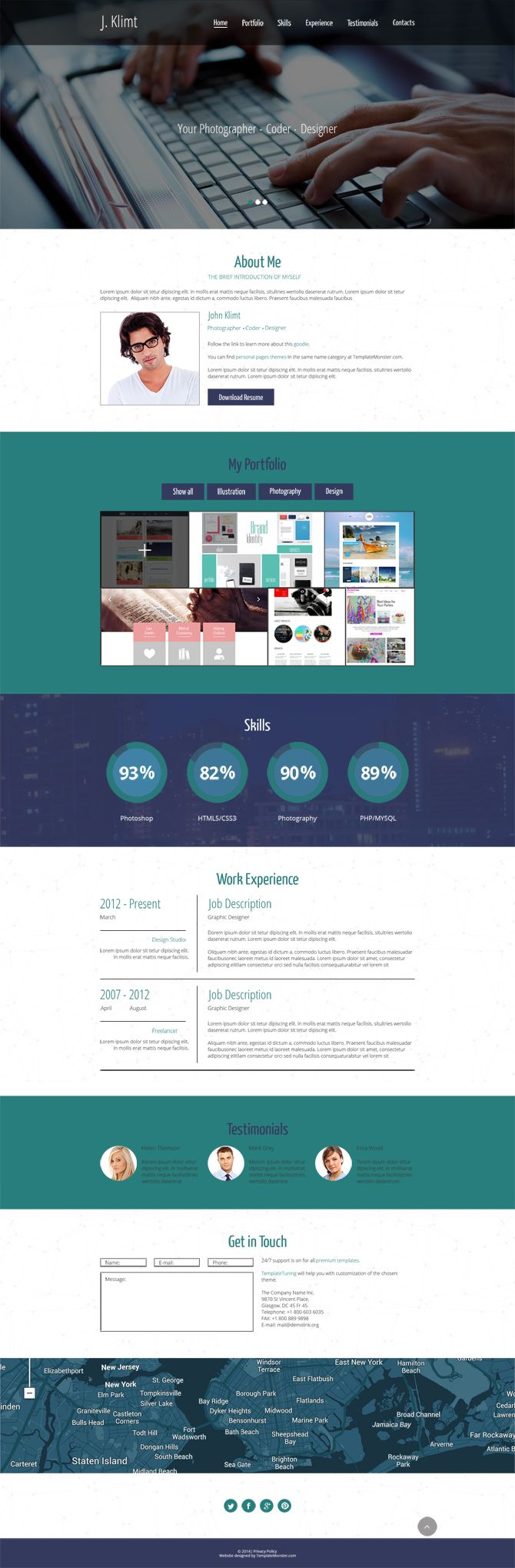 Free HTML one page template
