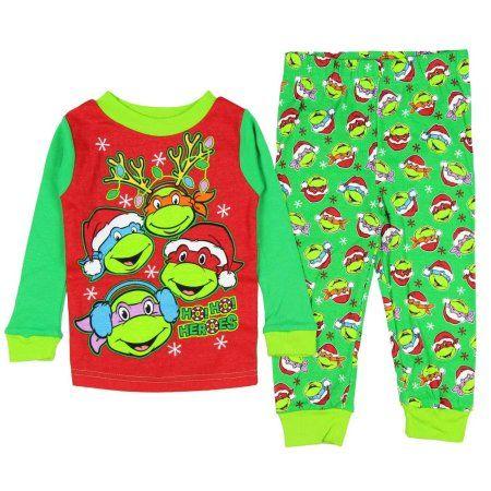 Teenage Mutant Ninja Turtles Little Boys' Christmas Pajama Sleepwear Set, Multicolor