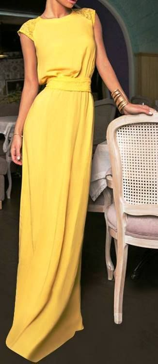 Chic look | Belted yellow gown with golden cuff