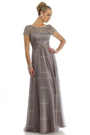 A-Line/Princess Jewel Floor-length Chiffon Mother of the Bride - IZIDRESS.com at IZIDRESS.com