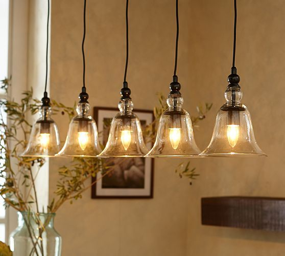pottery barn kitchen lighting for the dinning table rustic glass 5 light pendant 4379