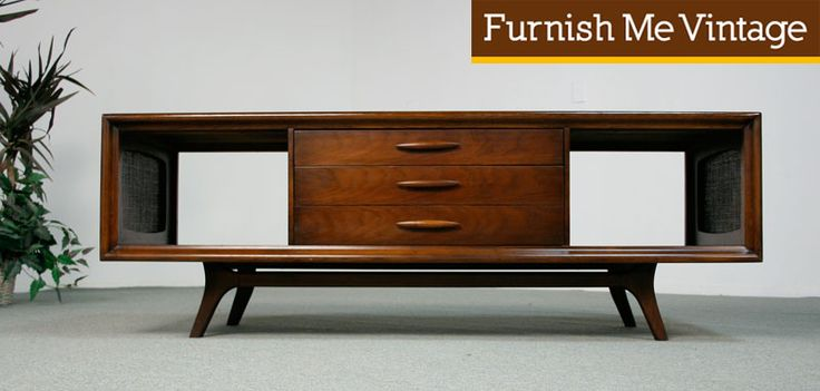 midcentury consoles | Mid Century Modern Emphasis Entertainment Center | Furnish Me Vintage - conceptual for window wall storage unit - possibly reverse the design - sliding side doors with an open center