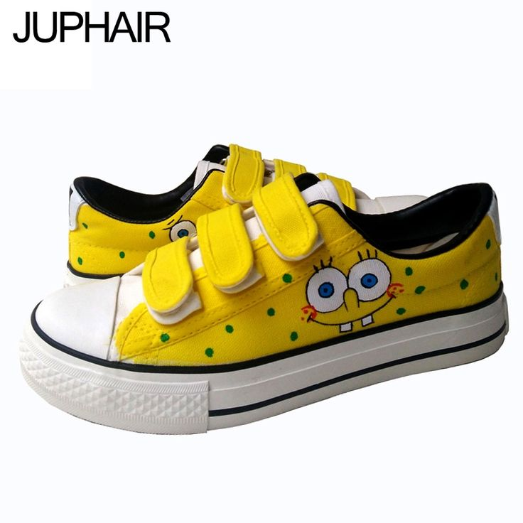 31.05$  Buy now - http://alixui.shopchina.info/go.php?t=32718530891 - JUP Men Males's Boys Painted Hook & Loop hand Up Anime Spongebob Luffy Flat Shoes Graffiti Painted Canvas Holiday Gift Footwear  #magazine