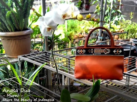 Angsa Dua, Leather Handbag with touched of Ayoutupas handwoven. Indonesian handwoven. Natural dyed