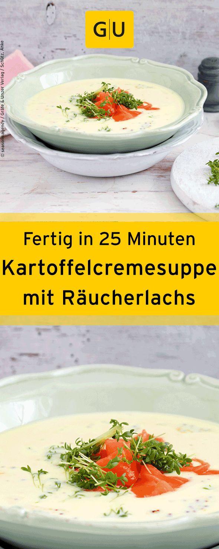 """Fertig in nur 25 Minuten! Schnelles Rezept für Kartoffelcremesuppe mit Räucherlachs. Ihr findet es in der Leseprobe zum Buch """"Express Abendessen"""".⎜GU"""