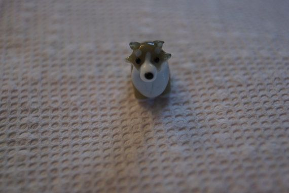 Bead lampworked glass brown and white Schnauzer dog by Henrysbeads, $6.50