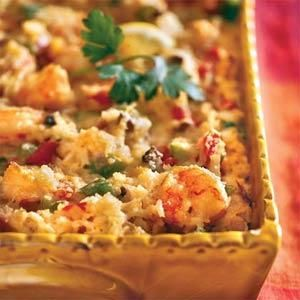 This hearty seafood casserole is filled with shrimp, cheese and rice and gets its Cajun flair from the addition of okra, bell peppers, and cayenne pepper. It's a great choice for a special occasion meal. If you're not a fan of okra, you can leave it out of this dish.