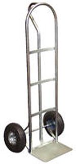 "Heavy Duty Steel ""P"" Handle Hand Truck. The ""P"" style hand trucks are ideal for transporting heavy and awkward loads. These trucks work well for the user that needs to free up one hand. The ""P"" shaped handle makes the truck easy to steer and maneuver. Specs: overall size 20""W x 19""D x 50 1/2""H ; nose plate 14""W x 7 1/2""D; capacity 300lbs. Available with hard rubber and pneumatic wheels."