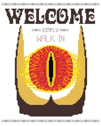 Welcome (to Mordor), Simply Walk In -- DIY Cross Stitch Pattern PDF on the redditgifts Marketplace