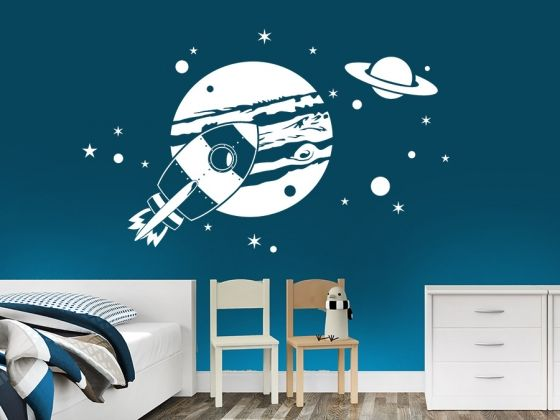 Wandtattoo Planeten mit Jupiter und Saturn für kleine Raumfahrer. Tolles Kinderzimmer Wandmotiv.