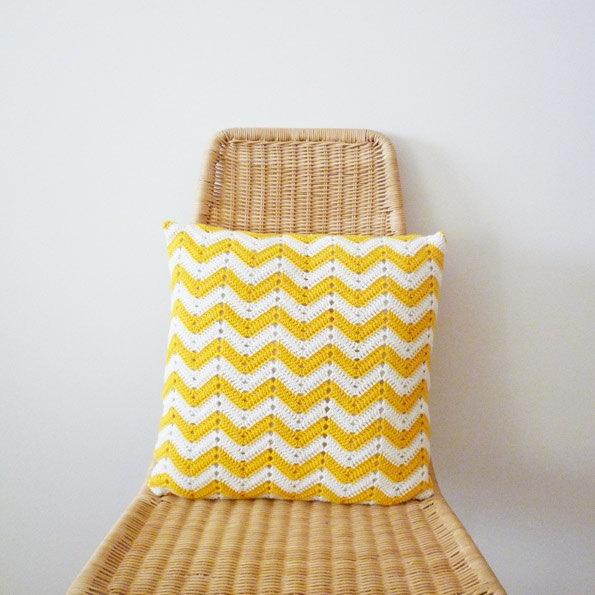 Chevron Crocheted Pillow - White + Yellow by Marta Florentino, via Flickr