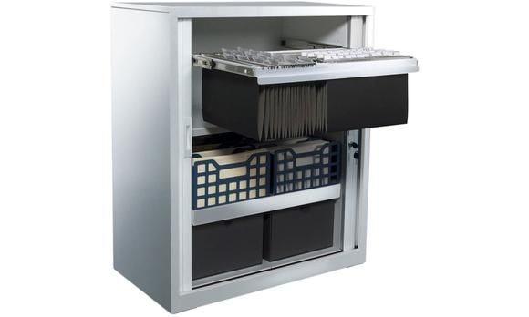 Tambour Sliding Door Storage Cabinet Metal Silver 1090H x 900W. Versatile, durable and dependable, I have been designed specifically for ease of use and space saving, and will make it my mission to de-clutter your office. With central locking and receding doors, I provide secure storage in any office environment. I've been made with high quality steel and am very flexible, with adjustable shelves, suspension filing and PVC doors.