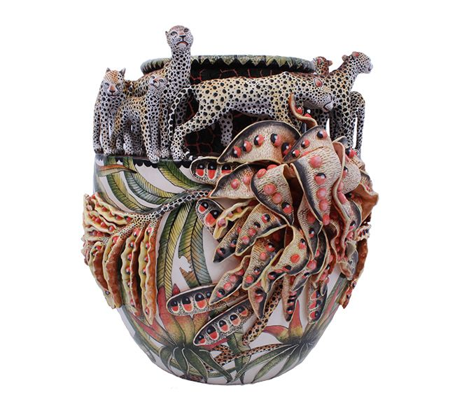 Ardmore would like to wish you all a very Happy Easter with this flamboyant Cheetah and Lucky Bean Vase, sculpted by Thabo Mbhele and painted by Siyabonga Mabaso.