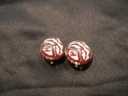 Boucles d'Oreilles Chanel bordeau et rose