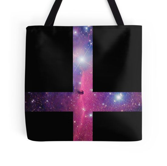 Purple Galaxy Inverted Cross Tote Bag - Available Here: http://www.redbubble.com/people/rapplatt/works/9497142-purple-galaxy-inverted-cross?p=tote-bag&ref=artist_shop_grid