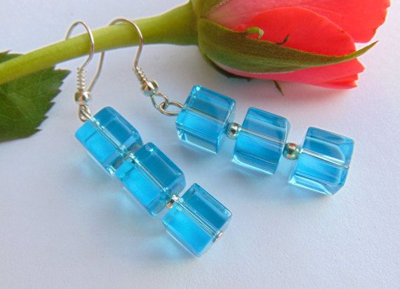 Glass Transparent Blue Dangle Earrings Woman by MaddaKnits on Etsy