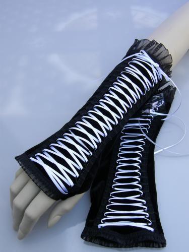 Gloves Black Velvet/White Lacing 22 cm van Paulien Berkelaar - Bizzare - Be azz you are, Be Bizzare